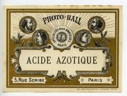 France Etiquette Acide Azotique Produits Photographique Photo Hall 1880 - Old Paper