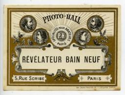 France Etiquette Revelateur Bain Neuf Produits Photographique Photo Hall 1880 - Old Paper