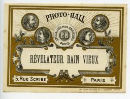 France Etiquette Revelateur Bain Vieux Produits Photographique Photo Hall 1880 - Old Paper