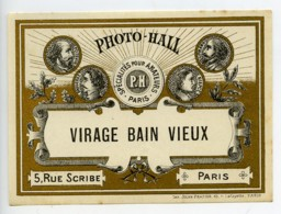 France Etiquette Virage Bain Vieux Produits Photographique Photo Hall 1880 - Non Classés