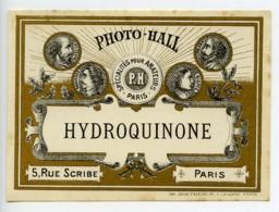 France Etiquette Hydroquinone Produits Photographique Photo Hall 1880 - Unclassified
