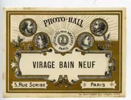 France Etiquette Virage Bain Neuf Produits Photographique Photo Hall 1880 - Unclassified