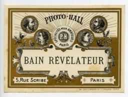 France Etiquette Bain Revelateur Produits Photographique Photo Hall 1880 - Unclassified