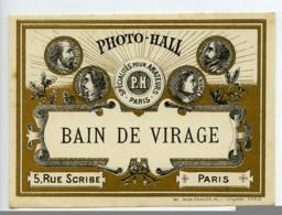 France Etiquette Bain De Virage Produits Photographique Photo Hall 1880 - Old Paper
