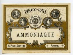 France Etiquette Ammoniaque Produits Photographique Photo Hall 1880 - Old Paper
