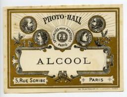 France Etiquette Alcool Produits Photographique Photo Hall 1880 - Vieux Papiers