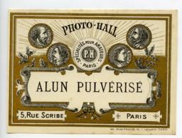 France Etiquette Alun Pulverise Produits Photographique Photo Hall 1880 - Old Paper