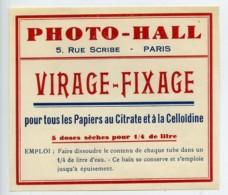France Etiquette Virage-Fixage Produits Photographique Photo Hall 1880 - Old Paper