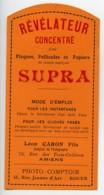 Etiquette Revelateur Concentre Supra Produits Photographique Photo 1900 - Unclassified