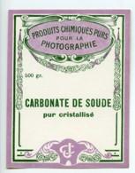 France Paris Etiquette Carbonate De Soude Produits Photographique Photo CJ 1900 - Unclassified