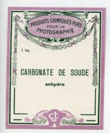 France Paris Etiquette Carbonate De Soude Produits Photographique Photo CJ 1900 - Old Paper