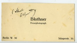 Allemagne Berlin Carte De Visite Du Photographe De Presse Blothner 1930 - Unclassified
