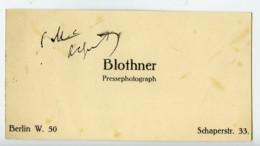 Allemagne Berlin Carte De Visite Du Photographe De Presse Blothner 1930 - Zonder Classificatie