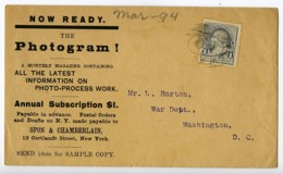 USA Enveloppe Publicitaire Magazine The Photogram ! Timbre 1 Cent Franklin 1894? - Vecchi Documenti