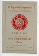 Cuba La Havane Etiquette VIIe Salon Photographique International 1954 - Old Paper