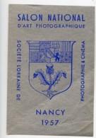 France Nancy Etiquette Salon National D'Art Photographique 1957 - Unclassified