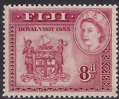 Fiji 1953 QE2 8d Deep Carmine Red Royal Visit MM SG 279 ( J1224 ) - Fiji (...-1970)