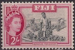 Fiji 1954 - 59 QE2 2/-d Black & Carmine MM SG 291 ( J1216 ) - Fiji (...-1970)