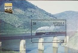 L) 2013 ANTIGUA & BARBUDA, TRAINS, 200 YEARS OF STEAM LOCOMOTIVES, BRIDGE, 6C, MNH - Antigua And Barbuda (1981-...)