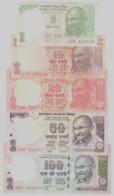 India 5 10 20 50 100 Rupie Rupee 2010-2018 Signatures Subbarao, Rajan, Patel - UNC FDS 5 Pcs Set - India