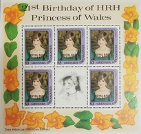 L) 1982 GRENADA, 21ST BIRTHDAY OF PRINCESS DIANA, PRINCESS, PEOPLE, FLOWERS, MNH - Grenada (1974-...)