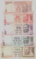 India 10 20 50 100 500 Rupie Rupee 2013-2015 - All Signature Rajan - UNC FDS 5 Pcs Set - India