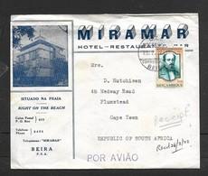 Mozambique, Hotel Miramar, Beira, BEIRA 23.2.72 , 1$50 Air Mail > S.Africa. - Mozambique