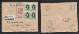 British Somaliland, Registered OHMS Cover, 70c, HARGEISA GPO 8 JU 53 > S.Africa, ADEN & MOMBASA 29 JU 53 Transits - Somaliland (Protectorate ...-1959)