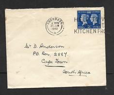 Great Britain, GVIR Cover, Stamp Centenary 2 1/2d, ABERDEEN 25 JUN 1940 + WAR EFFORT SLOGAN > S.Africa - 1902-1951 (Rois)