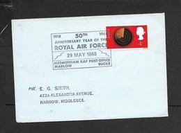 Great Britain, EIIR, Cover, 50th ANNIVERSARY OF ROYAL AIR FORCE29 MAY 1968 MEDMENHAM RAF PO MARLOW BUCKS, - Briefe U. Dokumente