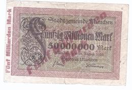 München  Überdruck 5 Milliarden Mark Auf 50 Millionen Mark Aus 1923   -   AK-13.352 - [11] Emissioni Locali