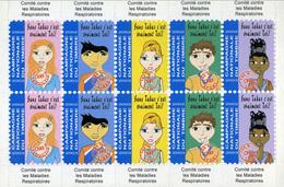 Tuberculose Antituberculeux - Feuillet De 10 Vignettes Sans Valeur Année 2002 - Commemorative Labels