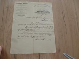 Lettre à En Tête Illustrée Richard Berns Anvers 07/06/1875 Verdet Allan Lines Montreal Ocean Steam Ship Company - Transports