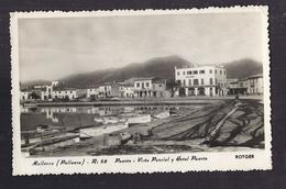 CPSM ESPAGNE - MALLORCA - POLLENSA - Puerto : Vista Parcial Y Hotel Puerto TB PLAN Maisons , Barques , Filets Pêche - Mallorca