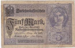 Allemagne - Billet De 5 Mark - 1er Août 1917 - [ 2] 1871-1918 : Imperio Alemán