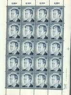 Luxembourg Feuille De 20 Timbres à 0,01 Euro Grand-Duc Henri - Full Sheets