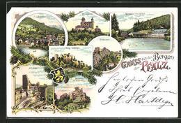 Lithographie Dahn, Burg Sickingen, Bergwartstein, Schönau Und Villa Gienanth - Dahn