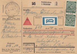 BiZone Paketkarte 1948: Feldkirchen Westerham Nach Haar, Nachnahme, Beutelpost - Zone AAS