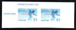 Antarctica Post Imperf Oates Specimen Overprint Pair. - New Zealand