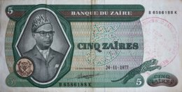 "Zaire 5 Zaires, P-21b (24.11.77) - VF - ""Muanda"" - Zaire"