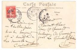 4590 TUNIS RP Tunisie Carte Postale Semeuse 10c Yv FM 5 Franchise Militaire Ob 26 3 1909 Dest La Guerche/l'Aubois Cher - Franchise Stamps