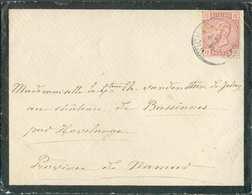 N°38 - 10 Centimes Rose, Obl. Sc WICHELEN Sur Enveloppe De Deuil Le 9 Septembre 1884 Vers Bassines/Havelange. R..- 00004 - 1883 Leopold II