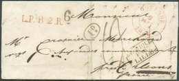 LAC D'OSTENDE Le 9 Septembre 1836 + Griffe Rouge L.P.B.2.R. Et Griffes Noires BELGIQUE/PAR/LILLE Et 6 (bonification De 6 - 1830-1849 (Belgique Indépendante)