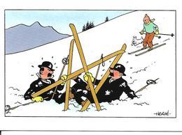 Carte Double Tintin Et Milou, Dupond Et Dupont. Hergé. Carte De Noël. - France