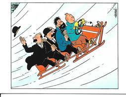 Carte Double Tintin Et Milou, Dupond Et Dupont, Capitaine Haddock.  Hergé. Carte De Noël. - France