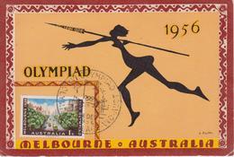 AUSTRALIE Carte  JEUX OLYMPIQUES DE MELBOURNE 1956 - Sommer 1956: Melbourne