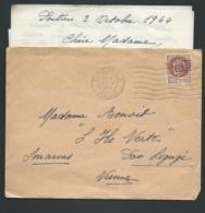 Timbre Maréchal Pétain Surchargé R.F. Encadré Yvert N° 22 TYPE 2 Oblitéré Poitiers RP 2/10/1944 Pour Smarves Aoa18201 - Liberation