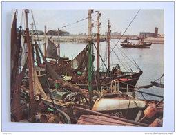 Chromo Timbre Tintin Kuifje's Bon Geographie De Belgique 60 Le Port De Pêche De Zeebrugge De Vissershaven Van Zeebrugge - Trade Cards