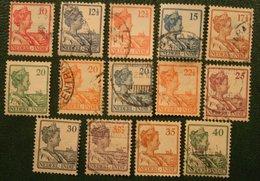 Koningin Wilhelmina Complete Set NVPH 115-128 1913-1932 Gestempeld / Used INDIE / DUTCH INDIES - Niederländisch-Indien