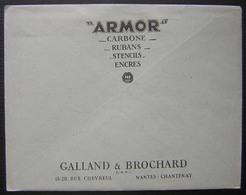 Nantes R.P. 1948 Armor Galland & Brochard Lettre Avec Deux Jolis Documents Commerciaux (encres Stencils Rubans Carbone) - Postmark Collection (Covers)